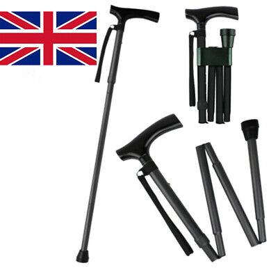 Heavy Duty Folding Mobility Walking Stick Cane Height Adjustable Collapsible NEW