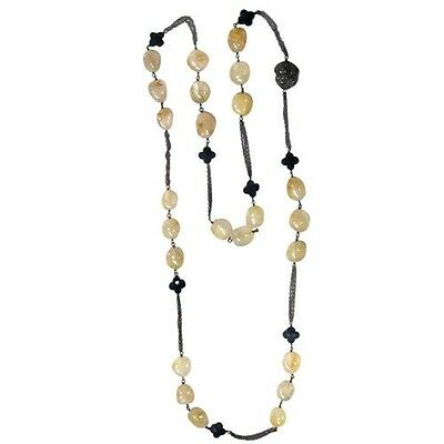Rutile Bead Onyx Diamond Vintage Inspired Necklace 925 Sterling Silver Jewelry