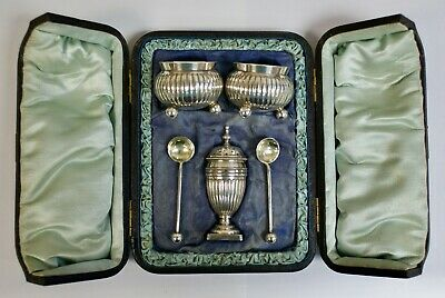 Superb Antique Silver Plated Roberts & Belk Cruet Set In Fitted Leather Case