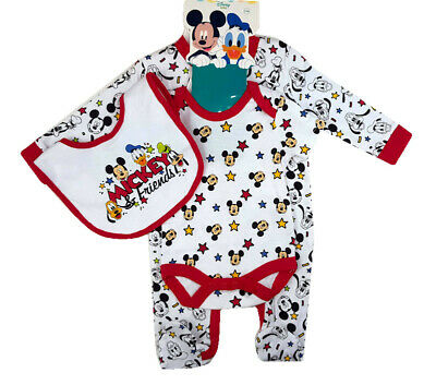 NEW Disney Official Baby Boys Girls Mickey Mouse Cotton Outfit Layette Gift Set