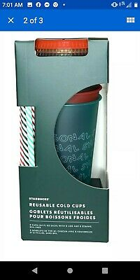 NEW Starbucks 2019 Holiday Christmas Winter Reusable Cold Cups 5 pack w/ Straws