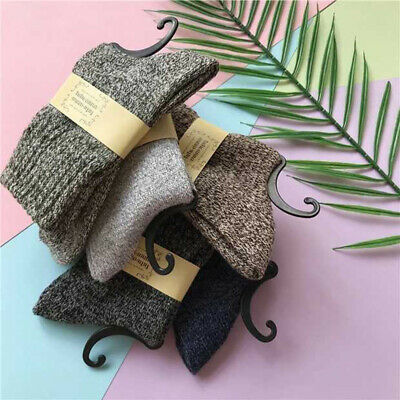 5 Pairs Socks Soft Solid Cashmere New Warm Winter Casual Thick Men Wool Sports