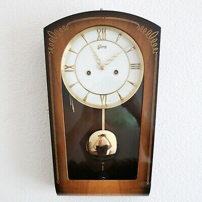 JUNGHANS GEWES Vintage Wall Clock HIGH GLOSS 50s Mid Century 3 Bar Chime Germany