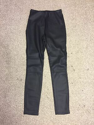 New Look Kids Girls Elasticated Waist Side Zip Leather Look Leggings 11 - 12 i51