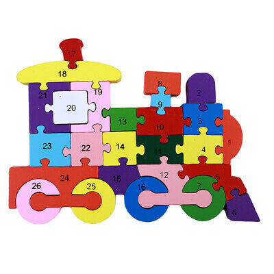 Wooden Letters English Alphabet 3D Train Colorful Board Infant Learning Toys 6A