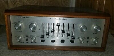 Vintage SAE Mark IB 1B Stereo Preamplifier Preamp w/ Wooden Cabinet Works Rare