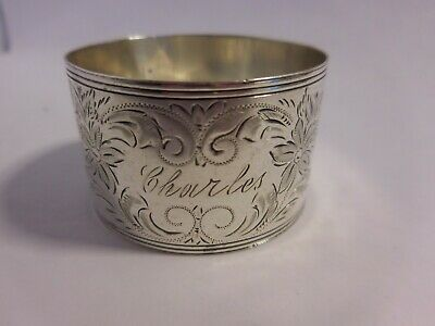 "WATROUS STERLING SILVER NAPKIN RING ENGRAVED ""Charles"" WITH FLORAL DECORATION"