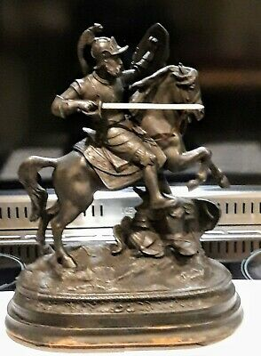 Large Antique Spelter Figure Knight  On Horse Back With Sword 40 Cms Wooden Base