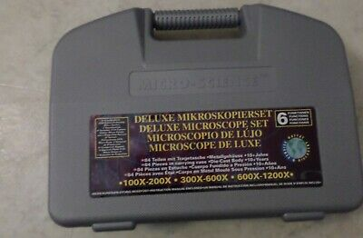 Micro-science Kids Learning Science Lab Kit Microscope Slides Set W/Case used