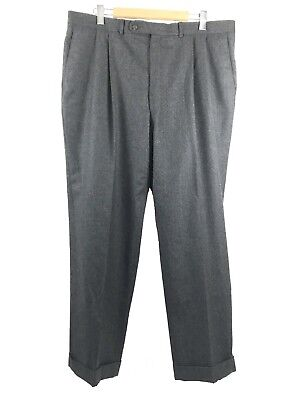 Jack Victor Prossimo Mens Cashmere Blend Gray Dress Pants 40 X 30.5 Pleated