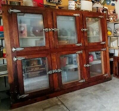 STUNNING!  Solid Oak and Maple Six door Antique Bar Cooler with Top