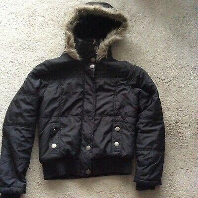 Ladies/Girls Denim & Co Black Fur Trimmed Hooded Jacket Size 10