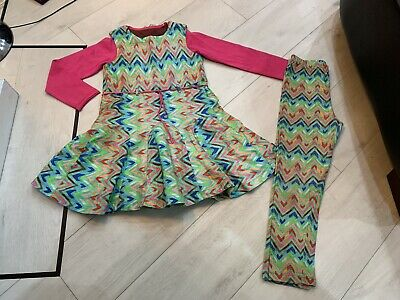 Girls Designer Oilily Outfits Dress Top & Leggings Age 5 Years Vgc