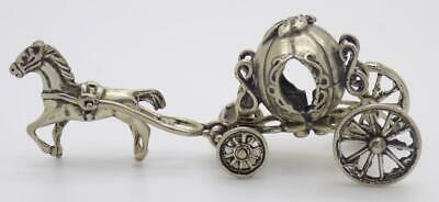 Vintage Solid Silver Italian Made Princess Carriage Figurine Hallmarks Miniature