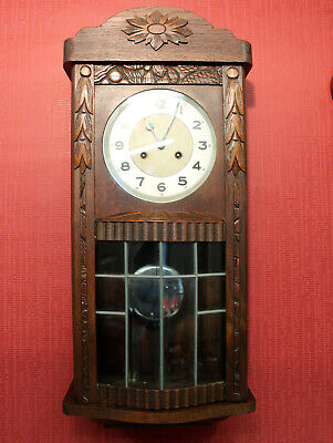 Antique Wall Clock Chime Clock Regulator 1920th door with convex glass