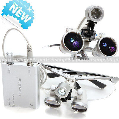 Dental Surgical Medical Binocular Loupes 3.5X 420mm +Head Light SILVER【USA】