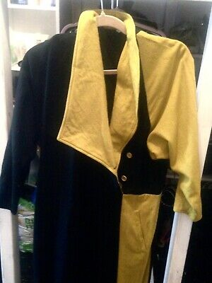 80s Pure Wool Jumpsuit Harlequin Yellow & Black colour way