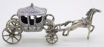 Vintage Solid Silver Italian Made Carriage w/t Horse Figurine Stamped Miniature