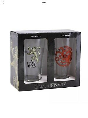 BRAND NEW Game of Thrones Collectible Pint Glass Set, Targaryen, Lannister