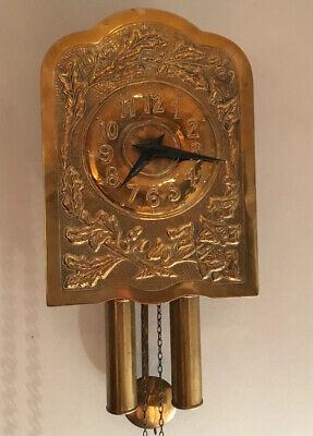 Antique Brass Cuckoo Type Weight Driven Pendulum Wall Clock Oak Leaves