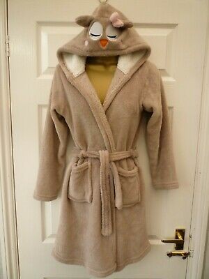YD PRIMARK Girls Age 10 11 Years Beige Owl Soft Fleece Hooded Dressing Gown