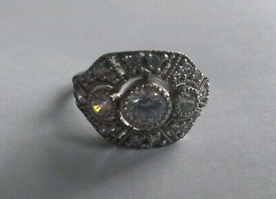 Vintage Sterling Silver Rhinestone Art Deco Ring, Size 7