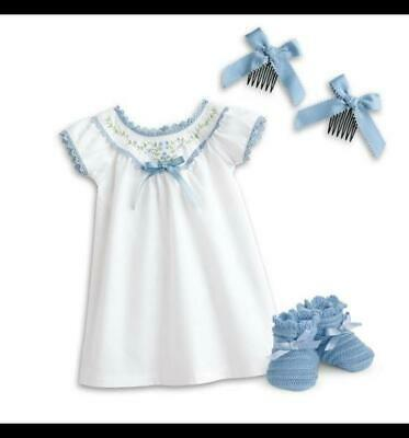 New American Girl Addy Nightgown~Blue Knit Slippers~Hairbows~BeForever Pajamas