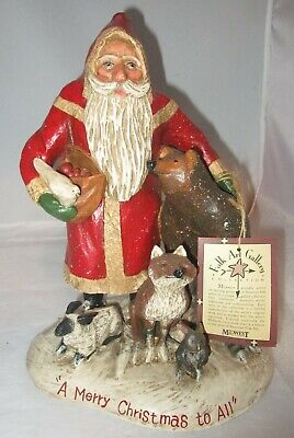 Midwest Falls Schifferl MERRY CHRISTMAS TO ALL Figurine Santa,Bear,Wildlife NWT