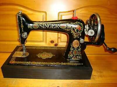 "1919 Antique Singer Sewing Machine  Model 66 "" Red Eye "", Hand Crank, Serviced"