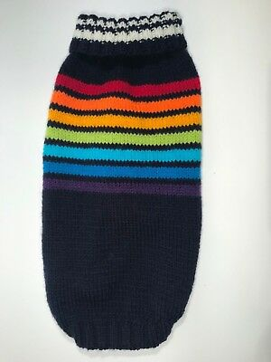 Pet Dog/Puppy/Cat Hand Knit Rainbow Striped Style Jumper Sweater