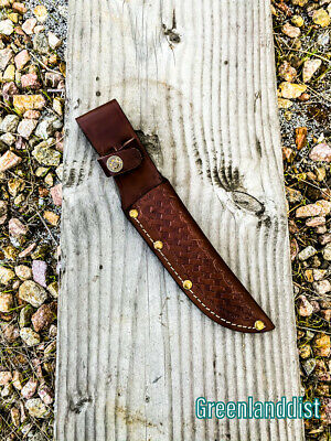 """10"""" Handmade Real Leather Sheath For Fixed Hunting Blade Knife Engraved /Belt L"""