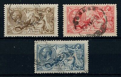 GB 1913-19 Seahorses 2/6d, 5/- and 10/- Used SG Cat £1140 as cheapest