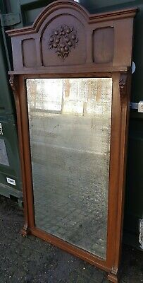Beautiful Large French Walnut Wall Floor Arched Top Mirror Original Bevel Edge