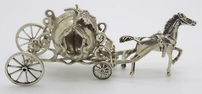 Vintage Solid Silver Italian Made Princess Carriage Miniature Hallmarks Figurine