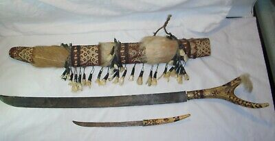 Old Antique Primitive Hand Made Knives and Wooden Sheath Carved Antler Handles