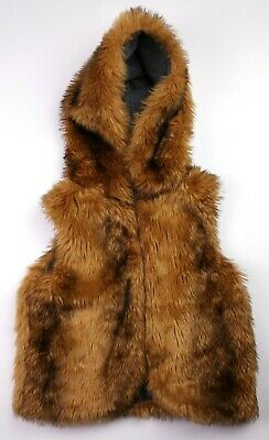 Girls Clothes NEXT Faux Fur Hooded Gilet Body Warmer Jacket 11 Years 146cm VGC