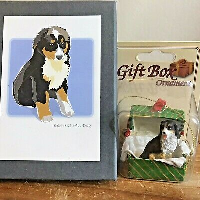 Bernese Mountain Dog Note Cards And Christmas Ornament New