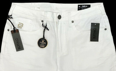 Men's BUFFALO DAVID BITTON White Denim Jeans Pants 38x32 NWT ASH-X Slim Stretch