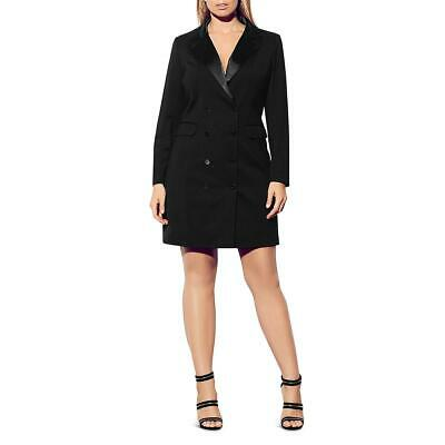 City Chic Womens Black Satin-Trim Party Tuxedo Dress Plus 20 L BHFO 0414