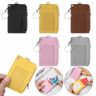 Bus Cards Cover PU Leather Business ID Card Holder Keychain Coin Purse Wallet