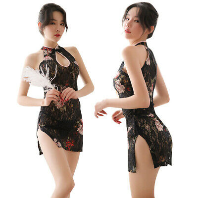 Sexy Women Lace Printed Cheongsam Bodycon Evening Party Cocktail Mini Dress