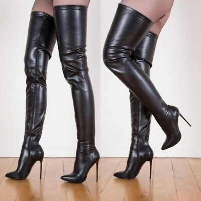 Details about  /Over The Knee Thigh High Boots Stilettos Pointy Toe Shoes Nightclub 34-45 Feng8