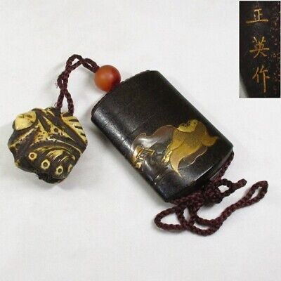D888: High class Japanese old lacquered pillbox INRO w/wonderful MAKIE and sign