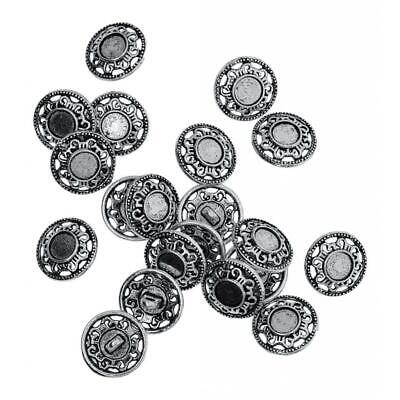 60pcs Metal Carved Antique Silver Sewing Craft DIY Shank Buttons Accessories