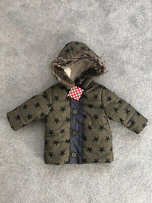 Bnwt Baby Boys Khaki Green Star Coat With Fur Hood Ladybird 6-9