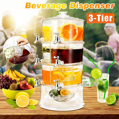 3 Tiers Commercial Clear Cold Drink Juice Dispenser Iced Beverage Holder