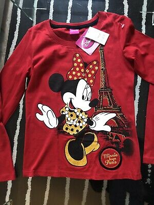 Bnwt Girls Red Disney Minnie Mouse Top From Next