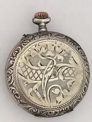 Small Silver antique Full Engraved Pocket / Fob Watch