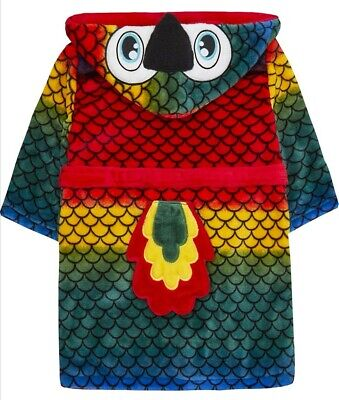 Kids Children Boy Girl Parrot Dressing Gown Robe Colorful Tail Warm Cosy age 2 3