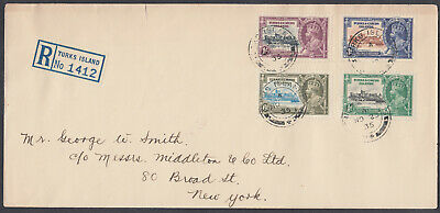 Turks&Caicos Islands Silver Jubilee set Registered: New York,USA; Not a FDC;1935